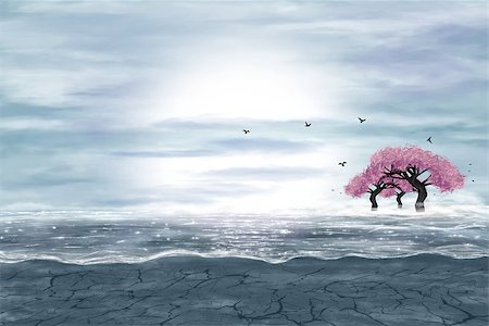 Fantasy landscape in blue and gray colors. A water in a desert, and flowering trees. Digital art. Stock Photo - Budget Royalty-Free & Subscription, Code: 400-07249413