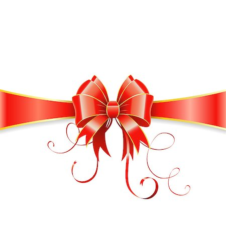Frame of the Bow and Ribbons on Holiday Isolated on White, vector illustration Stock Photo - Budget Royalty-Free & Subscription, Code: 400-07249606