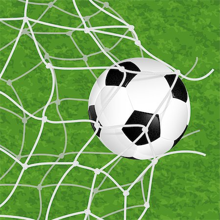 Soccer Concept - Goal. Soccer Ball in Net Torn on textured grass background, vector illustration Stock Photo - Budget Royalty-Free & Subscription, Code: 400-07249636