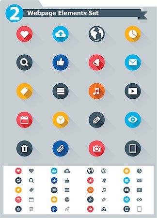 Set of the simple flat webpage elements icons Stock Photo - Budget Royalty-Free & Subscription, Code: 400-07254101