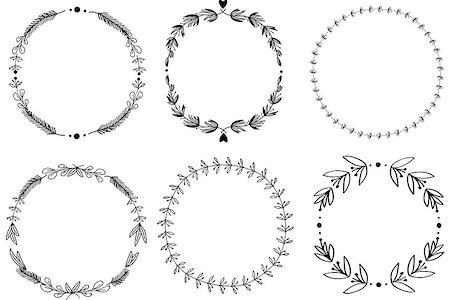 Set of 6 hand-draw raster victory laurel wreaths for stationary. Easy to change colors. Stock Photo - Budget Royalty-Free & Subscription, Code: 400-07254114