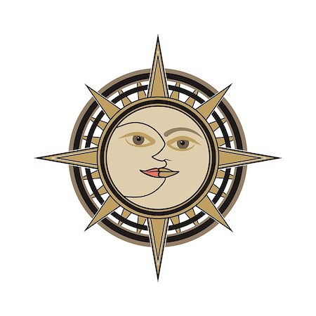 Sun and moon face traditional oriental india vector sign - day and night allegory isolated on white background. Stock Photo - Budget Royalty-Free & Subscription, Code: 400-07254819