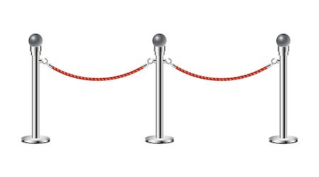 queue club - Stand rope barriers in silver design with red rope on white background Stock Photo - Budget Royalty-Free & Subscription, Code: 400-07256447