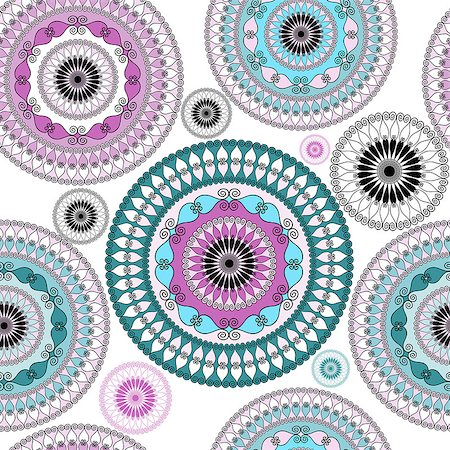 seamless floral - Vintage seamless white pattern with colorful lacy circles (vector) Stock Photo - Budget Royalty-Free & Subscription, Code: 400-07256599