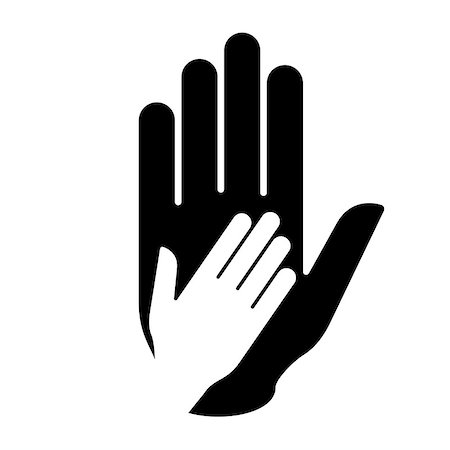 Helping hand symbol in black-and-white. Concept of help, assistance and cooperation. Stock Photo - Budget Royalty-Free & Subscription, Code: 400-07257507