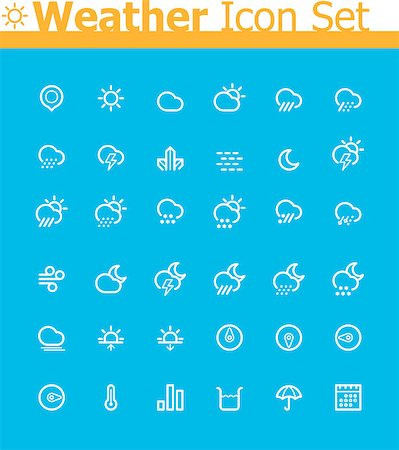 Set of the weather related icons Stock Photo - Budget Royalty-Free & Subscription, Code: 400-07259482