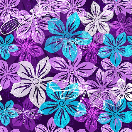 Seamless vivid floral spring pattern with translucent violet-blue-white flowers (vector EPS 10) Stock Photo - Budget Royalty-Free & Subscription, Code: 400-07259880
