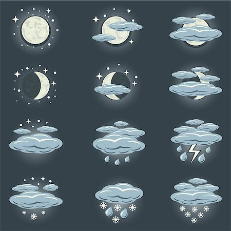 A collection of icons that show night weather Stock Photo - Budget Royalty-Free & Subscription, Code: 400-07250907