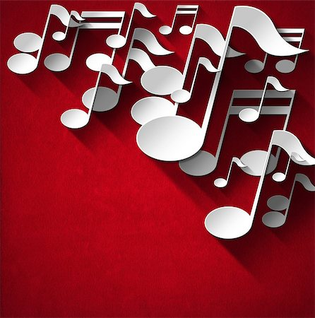 White and gray musical notes on red velvet background with shadows Stock Photo - Budget Royalty-Free & Subscription, Code: 400-07252144