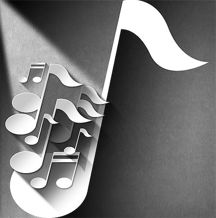 White and gray musical notes on white and gray velvet background with shadows Stock Photo - Budget Royalty-Free & Subscription, Code: 400-07252145