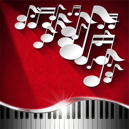 White musical notes and piano keyboard on red velvet background with shadows Stock Photo - Budget Royalty-Free & Subscription, Code: 400-07252147