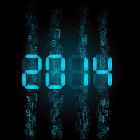 New Year 2014: blue digital numerals on black. Stock Photo - Budget Royalty-Free & Subscription, Code: 400-07252698