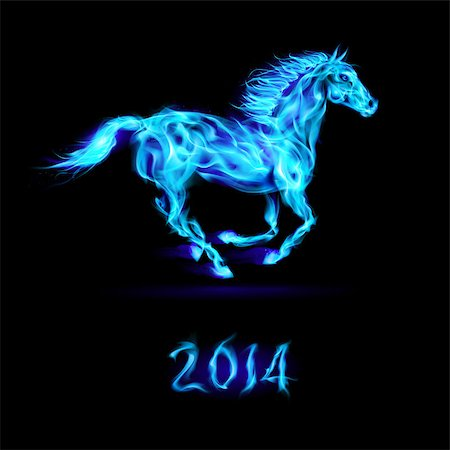 New Year 2014: running blue fire horse on black background. Stock Photo - Budget Royalty-Free & Subscription, Code: 400-07252711