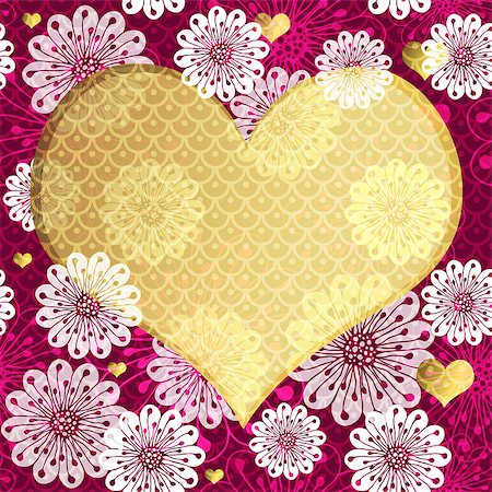 pink and purple fireworks - Valentine floral frame with big translucent gold heart and vintage pattern (vector eps 10) Stock Photo - Budget Royalty-Free & Subscription, Code: 400-07264360