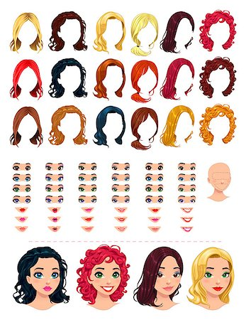 Fashion female avatars. 18 hairstyles, 18 eyes, 18 mouths, 1 head, for multiple combinations. In this image, some previews. Vector file, isolated objects. Stock Photo - Budget Royalty-Free & Subscription, Code: 400-07265042