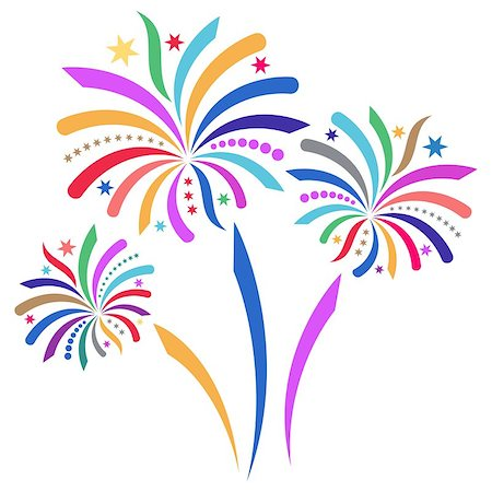 fireworks illustrations - Beautiful colorful vector firework isolated on white background Stock Photo - Budget Royalty-Free & Subscription, Code: 400-07265222