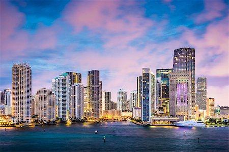 Skyline of Miami, Florida, USA at Brickell Key and Miami River. Stock Photo - Budget Royalty-Free & Subscription, Code: 400-07265278