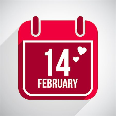 Valentines day flat calendar icon. 14 february Stock Photo - Budget Royalty-Free & Subscription, Code: 400-07265312