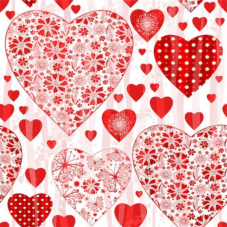 Grungy seamless valentine pattern with floral red hearts and wave  translucent strips (vector eps 10) Stock Photo - Budget Royalty-Free & Subscription, Code: 400-07266564
