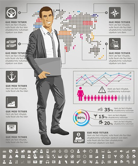 Vector infogrsphic with business man, earth map and web isons, and elements usefull for any visualisations Stock Photo - Royalty-Free, Artist: leedsn, Image code: 400-07266615