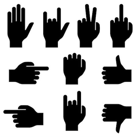 Set of hand gestures. Black silhouettes on white background. Stock Photo - Budget Royalty-Free & Subscription, Code: 400-07260339
