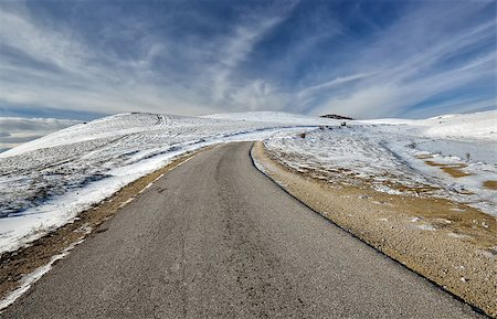 road landscape - Road on the mountain in winter from Macedonia Stock Photo - Budget Royalty-Free & Subscription, Code: 400-07260529