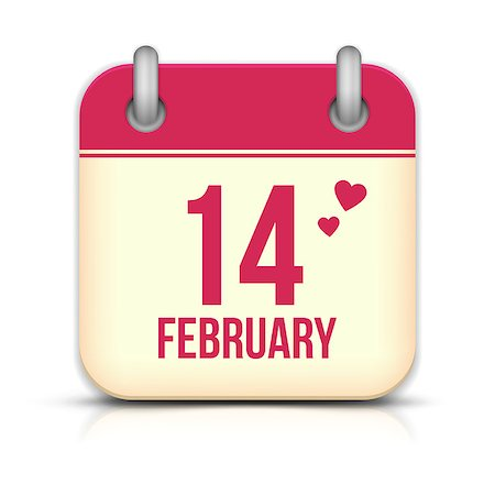Valentines day calendar icon with reflection. 14 february Stock Photo - Budget Royalty-Free & Subscription, Code: 400-07261749