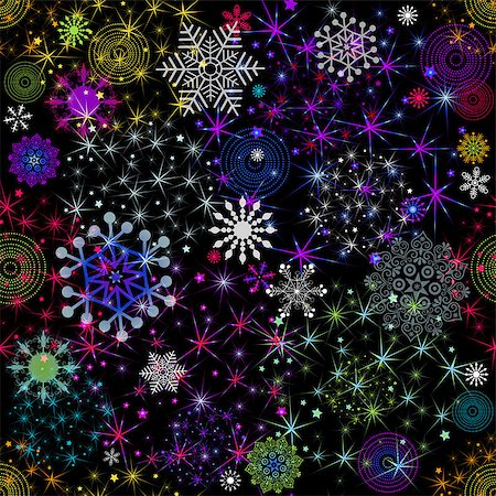 pink and purple fireworks - Seamless colorful christmas pattern with balls, stars and snowflakes (vector eps 10) Stock Photo - Budget Royalty-Free & Subscription, Code: 400-07261982