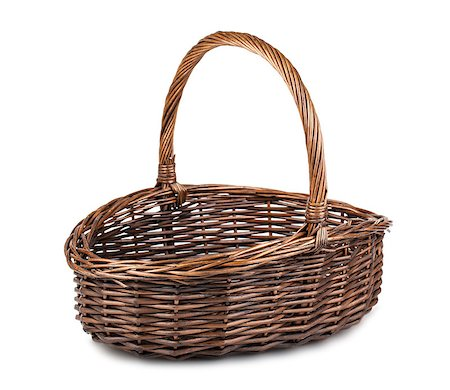 Single empty wicker basket isolated on white background Stock Photo - Budget Royalty-Free & Subscription, Code: 400-07263692