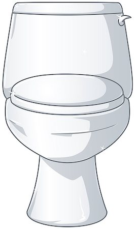 A vector illustration of a white shiny toilet with the lid closed. Stock Photo - Budget Royalty-Free & Subscription, Code: 400-07297194