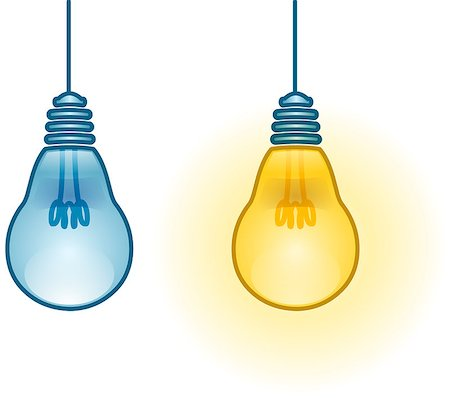 A vector illustration of two turned on and off light-bulbs. Stock Photo - Budget Royalty-Free & Subscription, Code: 400-07297193