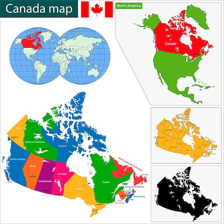 Colorful Canada map with provinces and capital cities Stock Photo - Budget Royalty-Free & Subscription, Code: 400-07297769