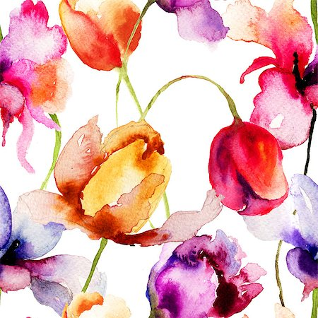 seamless floral - Seamless pattern with Tulips flowers, watercolor illustration Stock Photo - Budget Royalty-Free & Subscription, Code: 400-07298513