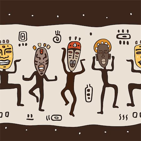 Dancing figures wearing African masks.  Primitive art. Seamless Vector Illustration. Stock Photo - Budget Royalty-Free & Subscription, Code: 400-07299646