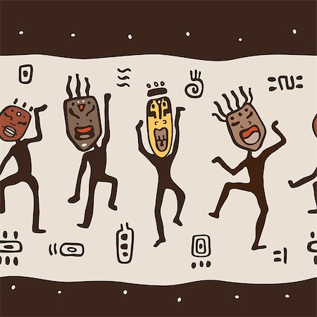 Dancing figures wearing African masks.  Primitive art. Seamless Vector Illustration. Stock Photo - Budget Royalty-Free & Subscription, Code: 400-07299651