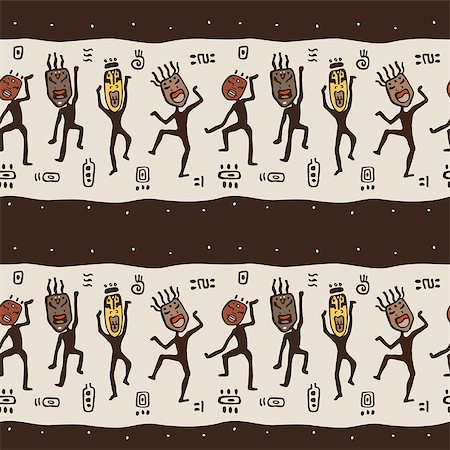 Dancing figures wearing African masks.  Primitive art. Seamless Vector Illustration. Stock Photo - Budget Royalty-Free & Subscription, Code: 400-07299652