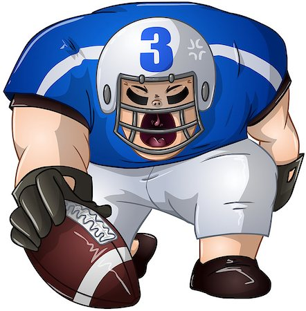 A vector illustration of a football player in blue and white uniforms kneeling and holding a football. Stock Photo - Budget Royalty-Free & Subscription, Code: 400-07299908