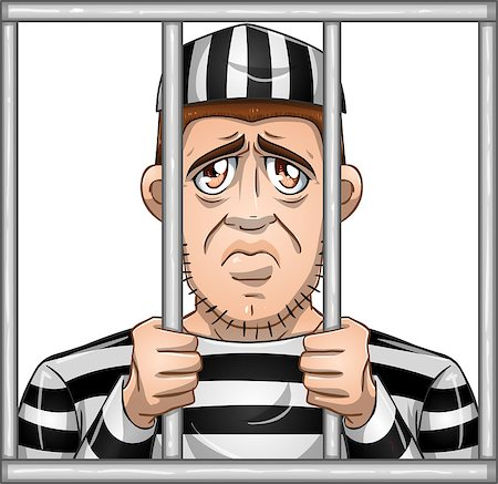A vector illustration of a sad prisoner locked in jail behind bars. Stock Photo - Budget Royalty-Free & Subscription, Code: 400-07299915