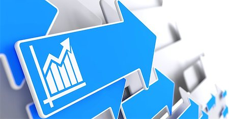 report icon - Growth Chart Icon on Blue Arrow on a Grey Background. Business Concept. Stock Photo - Budget Royalty-Free & Subscription, Code: 400-07292328