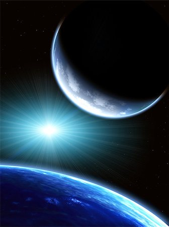 Space scene with two planets Stock Photo - Budget Royalty-Free & Subscription, Code: 400-07293117