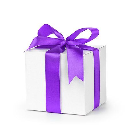 paper gift box wrapped with purple ribbon, isolated on white Stock Photo - Budget Royalty-Free & Subscription, Code: 400-07293606