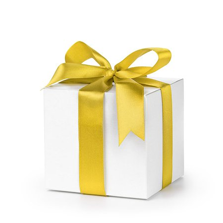 paper gift box wrapped with yellow ribbon, isolated on white Stock Photo - Budget Royalty-Free & Subscription, Code: 400-07293607