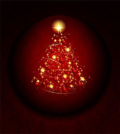 Christmas background with tree and stars Stock Photo - Budget Royalty-Free & Subscription, Code: 400-07304262
