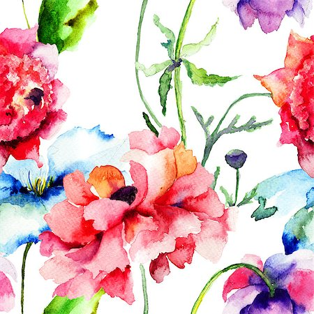 Seamless wallpaper with summer flowers, Watercolor painting Stock Photo - Budget Royalty-Free & Subscription, Code: 400-07305717