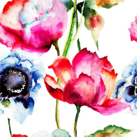 floral patterns peony - Seamless pattern with Beautiful flowers, Watercolor painting Stock Photo - Budget Royalty-Free & Subscription, Code: 400-07305735