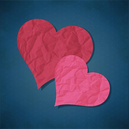 simsearch:400-04863562,k - Vector illustration with two hearts from old paper Stock Photo - Budget Royalty-Free & Subscription, Code: 400-07307827