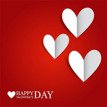 simsearch:400-04863562,k - Vector illustration with paper hearts on a red background by Valentine's Day Stock Photo - Budget Royalty-Free & Subscription, Code: 400-07307821