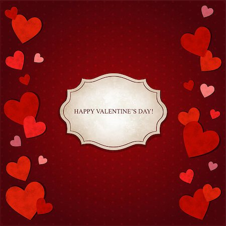 simsearch:400-04863562,k - Vector illustration with red hearts and a vintage label by Valentine's Day Stock Photo - Budget Royalty-Free & Subscription, Code: 400-07307823