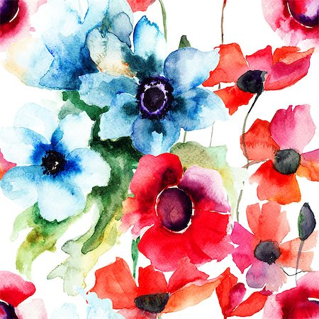 seamless floral - Floral seamless pattern, watercolor illustration Stock Photo - Budget Royalty-Free & Subscription, Code: 400-07308470