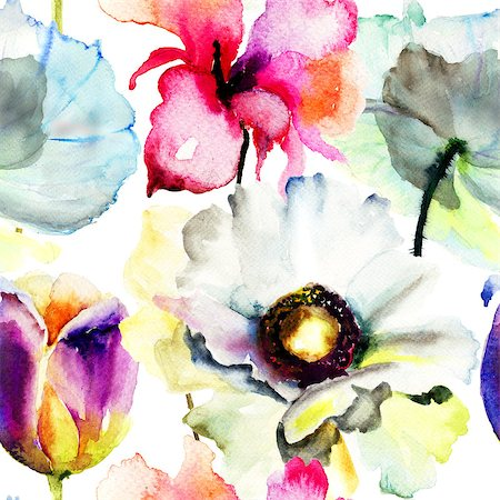 floral patterns peony - Seamless pattern with Beautiful flowers, Watercolor painting Stock Photo - Budget Royalty-Free & Subscription, Code: 400-07308472